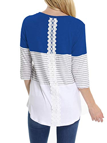 (INWECH Women's Nice Back Lace Patchwork Color Block Stripe Blouse Comfy 3/4 Sleeve Casual T-Shirt Tops Tunic (Dark Blue, X-Large))