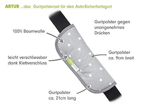 Priebes Artur Gurtpolster f/ür den Auto-Sicherheitsgurt//Universal Gurtschoner f/ür Kinder//Autogurt Polster f/ür alle Anschnallgurte Design:elefanten grau