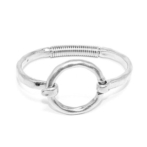 POMINA Geometric Shape Tension Bangle Hammered Metal Bracelets (Circle -