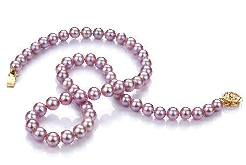 PearlsOnly - Lavande 6-7mm AAA-qualité perles d'eau douce -Collier de perles