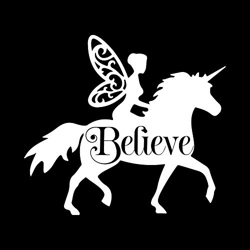 (More Shiz Fairy Riding Unicorn Believe Vinyl Decal Sticker Car Truck Van SUV Window Wall Cup Laptop - One 5.5 Inch White Decal- MKS0677)