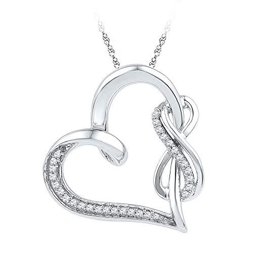 Heart Shaped Diamond Pendant Necklace - Jewels By Lux Sterling Silver Womens Round Diamond Linked Infinity Heart Pendant 1/8 Cttw In Prong Setting (I2-I3 clarity; J-K color)