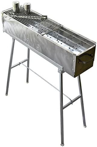 Party Griller Yakitori Grill 32 x 8 w Double Mesh Grill Grate – Portable Stainless Steel Charcoal BBQ Grill. Great Satay, Japanese Hibachi. Makes Juicy Lamb Shish Kebab, Shashlik, Spiedini Skewer