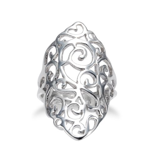 925 Sterling Silver 30 mm Cut-Out Long Floral Filigree Polish Finished Ring - Size 8