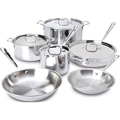 Image of All-Clad 401877R Stainless Steel 3-Ply Bonded Dishwasher Safe Cookware Set, 10-Piece, Silver - 8400000960 Home and Kitchen