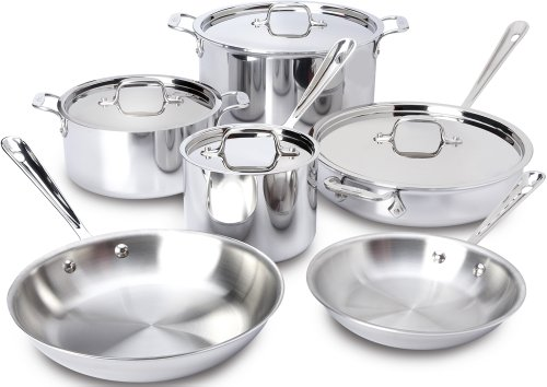 All-Clad 401877R Stainless Steel 3-Ply Bonded Dishwasher Safe Cookware Set, 10-Piece, Silver -