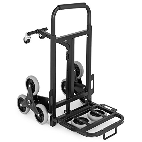 BestEquip Stair Climber Cart 330LB Heavy Duty Stair Climbing Cart 43.6Inch Adjustable Handle Folding Hand Truck with 2 Backup and Assistant Wheels for Stair Climbing