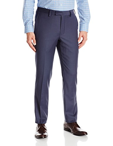 Mens Comfort Stretch Wool Dress - Louis Raphael Luxe Men's Slim Fit Flat Front Stretch Wool Blend Dress Pant, Dusk Blue, 34W x 32L