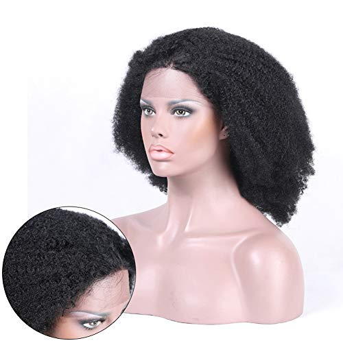 (Rose Hair Afro Curly Human Hair Wigs Natural Hairline Baby Hair African American Wigs Remy Brazilian Human Hair Lace Front Wig Real Hair Afro Kinky Curly Wig)