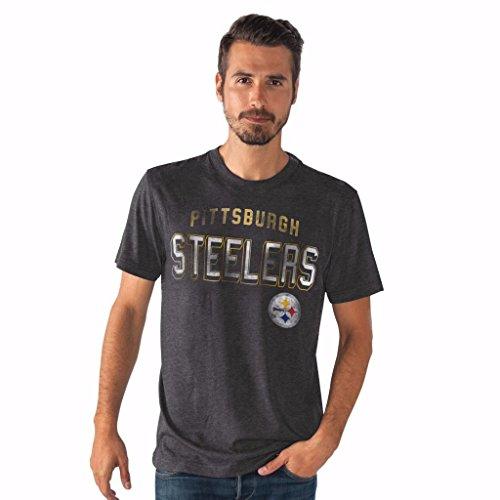 NFL Men's Line Up Tri-Blend Short Sleeve T-shirt (Medium, Pittsburgh Steelers)