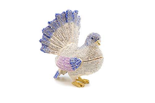 (Trinket Jewelry Box with Swarovski, Decorative Figurines Dove (Silver))