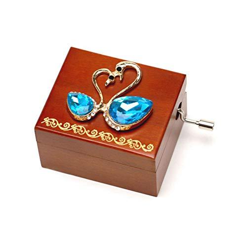 1pc Retro Wooden Music Box Blue Crystal Swan Clockwork Music Box Mini Hand Crank Music Box Toy for Children Gift