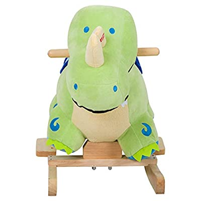 Qaba Kids Plush Ride-On Rocking Horse Toy Dinosaur Ride on Rocker Green with Realistic Sounds: Toys & Games