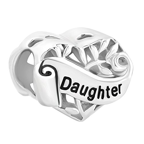 Beads Fit Pandora Bracelets (I Love You Daughter Sterling Silver Heart Family Charms Sale Cheap Jewelry Beads fit Pandora Bracelet)