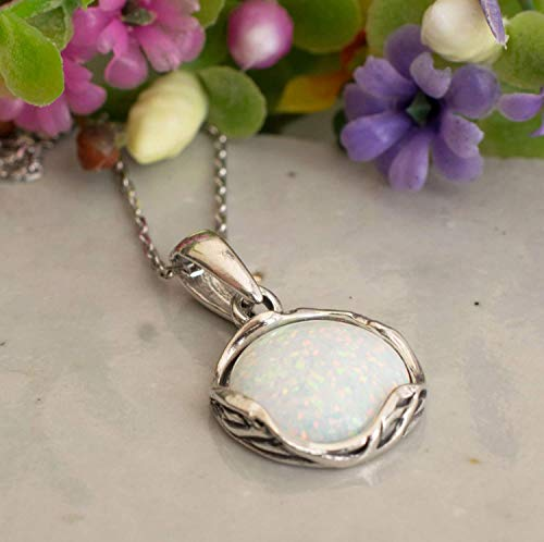 925 Sterling Silver White Opal Necklace - Dainty 12mm Round Gemstone Pendant, October Birthstone Bridal Wedding Jewelry, Handmade Vintage Statement Jewel for Classy Brides and Women ()