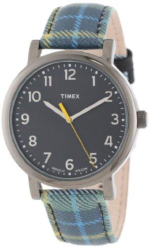 Timex Unisex T2N9259J Originals Classic Round Blue Plaid Leather Strap Watch