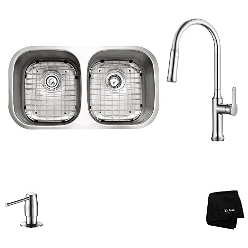 Kraus KBU22-1630-42CH Modern Undermount 50/50 Double Bowl Sink with Pull Down Faucet, 32
