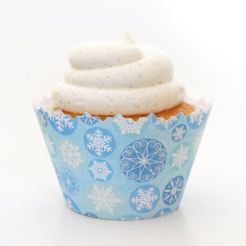 Winter Blue Icicle Snowflake frozen ADJUSTABLE Cupcake Wrapper - Set of 12 - Frozen January Cold Falling Snow Frozen Cup Cake Liners
