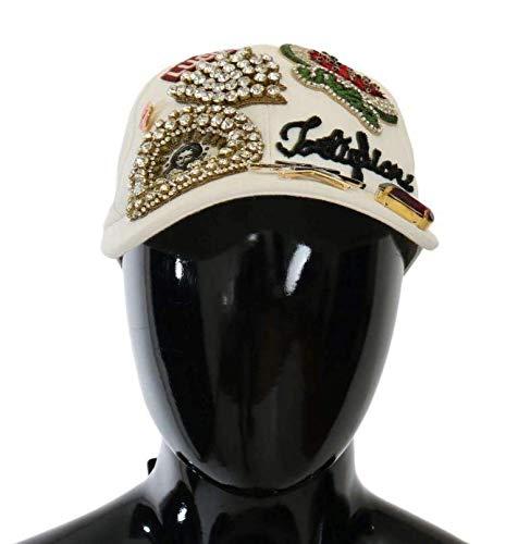 Dolce & Gabbana White Cotton Sicily Crystal Baseball Cap