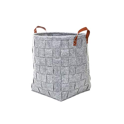 Asteria-Ashley 1PCS DIY Storage Basket Household Manual Knitted Dirty Clothing Felt Storage Bag Toys Put Sundries Home Storage Organization,l Gray -