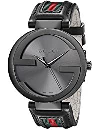 gucci watches amazon com gucci interlocking iconic bezel anthracite stainless steel men s watch leather band model ya133206