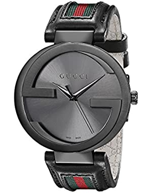 Interlocking Iconic Bezel Anthracite Stainless Steel Men's Watch with Leather Band(Model:YA133206)