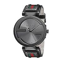 Gucci Men's Interlocking 42mm Leather and Nylon Strap Watch-YA133206