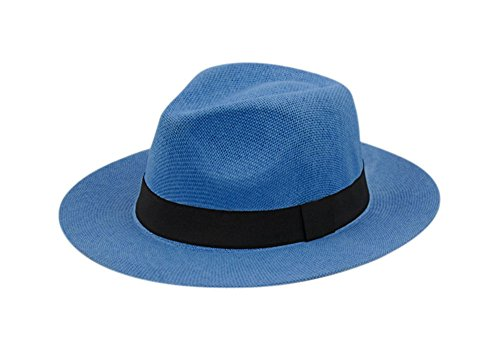 Classic Fedora Straw (Wide Brim Paper Straw Fedora, Classic C Crown Panama Sun Hat with Grosgrain Band and Adjustable Drawstring (One Size Fits Most) (Royal Blue))