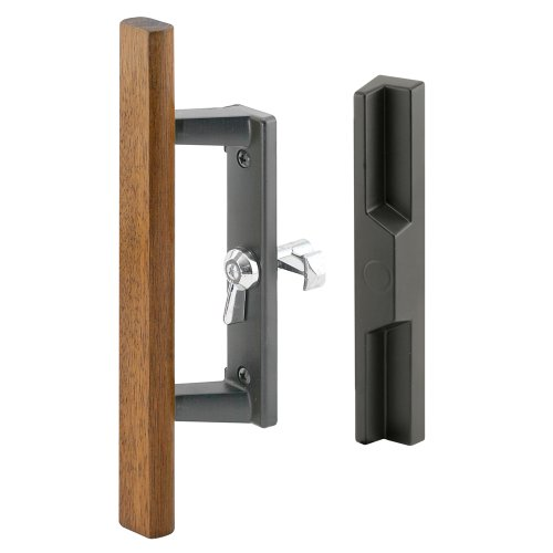 Prime-Line Products C 1259 Sliding Glass Door Handle Set, 3-15/16 in., Diecast & Wood, Black,  Hook Style, Internal Lock