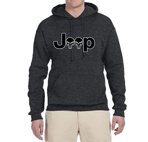 Jeep Skull Logo Emblem | Mens Cars and Trucks Hooded Sweatshirt Graphic Hoodie, Heather Black, Large