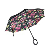 Reverse Umbrella Yellow And Pink Floral Pattern Windproof Double Layer Inverted Umbrella Anti-UV Protection with C-Shaped Handle for Car Outdoor Use