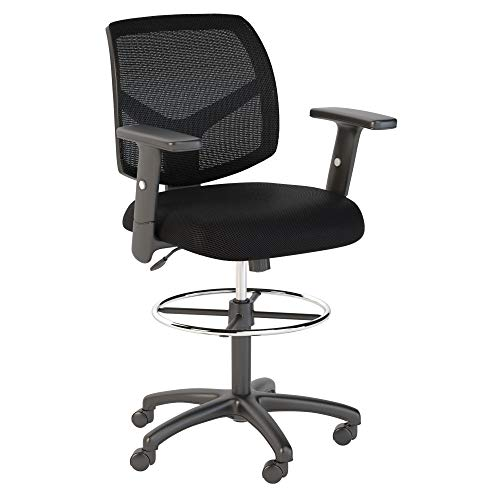 Bush Business Furniture Petite Mesh Back Drafting Chair with Chrome Foot Ring in Black (Bush Craft Black)
