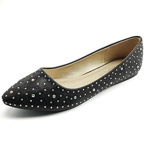 Pictures of Sparkly Rhinestone Pointed Toe Flats Flat ShoesWomen 1