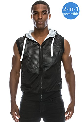 Men's Reversible Sleeveless Mesh Zip Up Hoodie BLACK Vest Hoodie 3XL