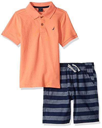 Nautica Sets (KHQ) Boys' Toddler 2 Pieces Polo Shorts Set, Salmon/Blue 2T