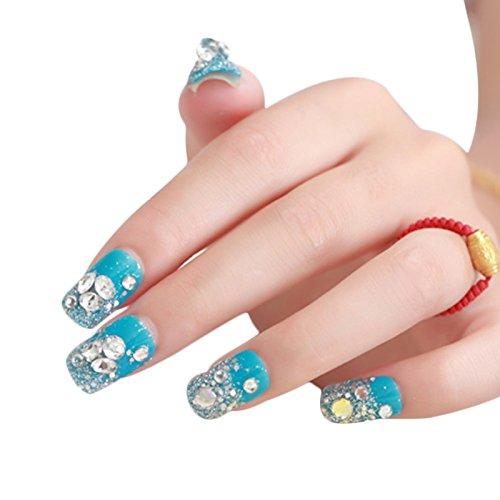 Lucoo Nail Art Nail Decals Bride Manicure Set Series Diamond Nail Patch 1 Box 24 Tablets Nail PasteNail Art Stickers (Blue)