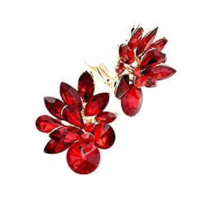 Schmuckanthony Hoernel. Luxury Evening Jewellery Cocktail Ball Wedding Large Clip On Earrings Crystal Red 4.5 x 3.5 cm
