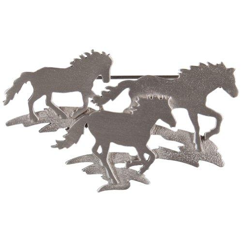 - Animal World - Horse Group Running Metal Pin Silver
