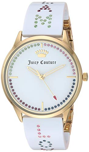 Juicy Couture Black Label Women's JC/1084GPWT Swarovski Crystal Accented Gold-Tone and White Resin Bangle Watch ()