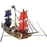 PopLife Man O' War Ship Pop Up Card for All Occasions - Happy Birthday, Graduation, Congratulations, Retirement, Anniversary Gift, Fathers Day - Boaters, Pirates, Ocean Lovers - Folds Flat for Mailing