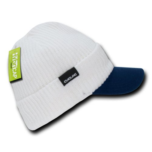 DECKY Campus Jeep Cap Visior Beanie Hat (One Size, White / Navy)