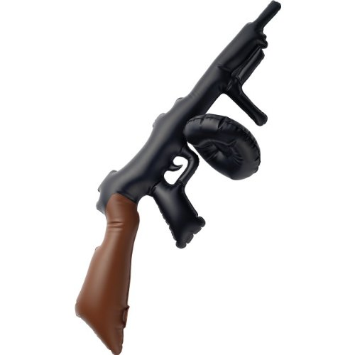 3x Kids Black Inflatable Tommy Gun, 75cm Fancy Dress Prop Partyrama 34761SMF-Fltb-3-A