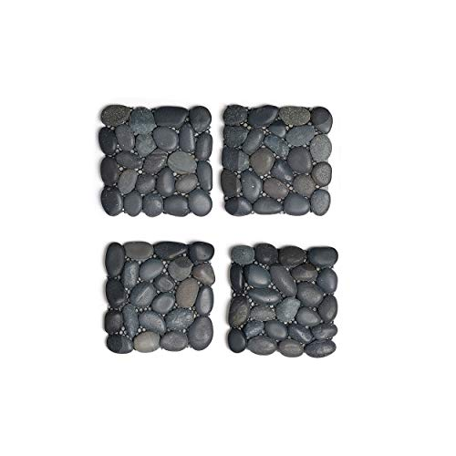 Design Ideas Beachstone Coasters Set, Natural River Rock Stone Tiles, 3.9