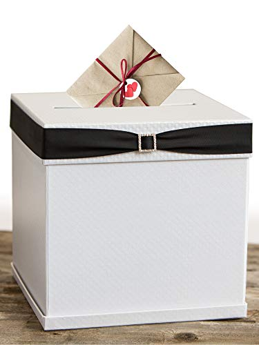 White Gift Card Box with 7 Ribbon Colors and Rhinestone Buckle, 10