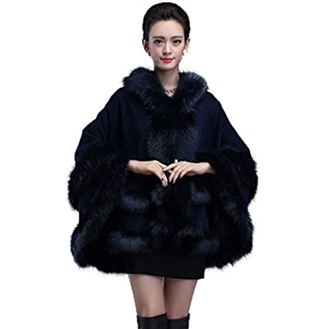 Caracilia Faux Fox Fur Trim Hooded Knit Cape Cloak Coat Thick Navy Blue CA85 - Fur Trimmed Knit Jacket