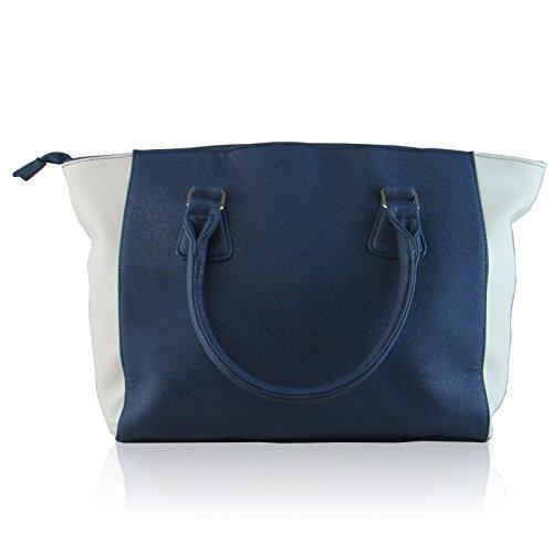 Xardi Londra grande borsa a tracolla in ecopelle da donna Tote ufficio lavoro Hobo Blue/White
