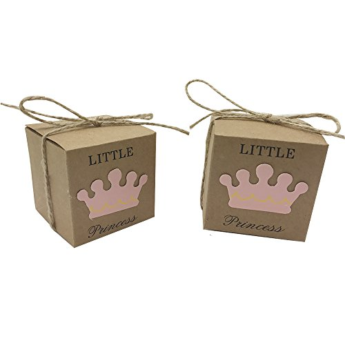 Amajoy 50pcs Little Princess Baby Shower Kraft Favor Boxes with 50pcs Twine Bow, Rustic Kraft Candy Box Cute Birthday Decoration- with Little Prince Favor Box As Option, Pink/Blue (Pink)