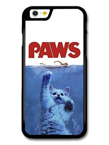 iPhone 5c Case, Jaws Paws Funny Cat Movie Poster Pattern Back Cover Case for iPhone 5c (Galaxy S5 Case Jaws)