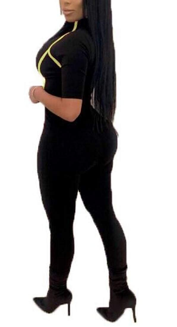 Pandapang Women Club Plain Butt Lift Stripe V Neck Pencil Bodysuit Jumpsuits