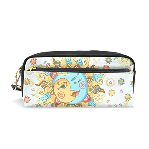 Students Pencil Case Pouch Stylized Indian Sun Moon Yellow Blue PU Leatehr Organizer Pen Holder Box Women Purse Wallet Waterproof Large Capacity Hand Mini Cosmetic Makeup Bag (Best Office Wear Lipstick For Indian Skin)